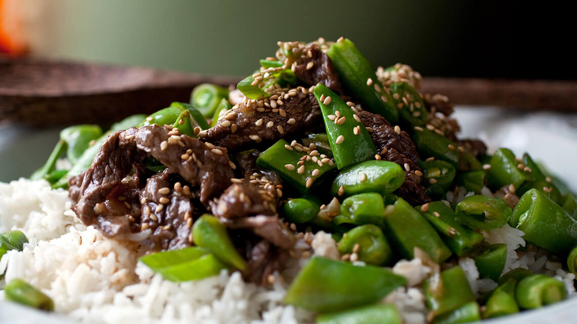 Stir Fry Beef With Sugar  Snap Peas And Rice