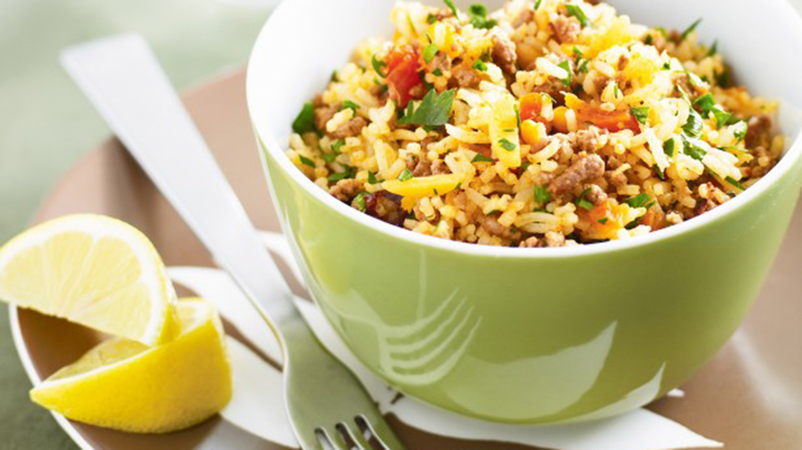 Moroccan Lamb Rice  With Almonds